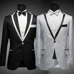 Wholesale-White Suit Black Lapel Men White Suite Jacket With Black Trim Wedding Suit Stage Host Black And White Mens Suits ( Jacket+ Pant)