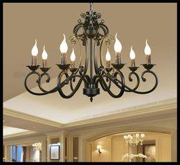 Wholesale 78 cm E14 candles chandeliers metal Iron light Chandelier hanging Black lustre Antique Art Deco hanging lustre pendant lamps modern