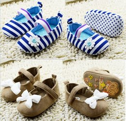 2016 Brown bow princess baby shoes!blue stripe toddler shoes!0-18 M kids shoes,girls walking shoes.9pairs 18pcs.C