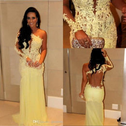 Wholesale Celebrity Black Dresses One Shoulder - 2016 Evening Gowns With Long Sleeves Formal Gowns Mermaid Dubai Lace Indian Celebrity Evening Dresses Long Women Arabic