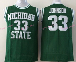 Wholesale Magic Johnson College Jersey Michigan State Spartans NCAA Green Stitched