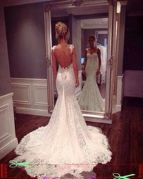 Wholesale Salomon Backless Beach Wedding Dresses Mermaid Spaghetti Straps Sweetheart Court Trains African Cord Lace Wedding Dresses Bridal Party LA