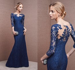 Wholesale 2016 mermaid lace evening dress long sleeved round neck lace color moving pictures cheap long prom dress lace formal evening dress HY00367