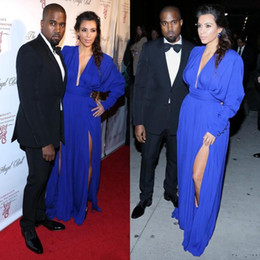 Robe kim kardashian blue celebrity en Ligne-Kim Kardashian 2016 Sexy Deep V Neck Robes Celebrity Royal Blue Side Slit Tapis Rouge Robes de soirée Robe de soirée Long Sleeve vestido longo