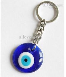 Malos encantos ojo azul en Línea-Al por mayor-25mm Llavero de 30mm turco de Cristal Azul Mal de Ojo Encanto Colgante Llavero 10pcs