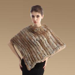 Wholesale winter ponchos woman genuin rabbit fur cape slim fashion crew neck knitting sweater poncho