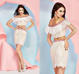 Wholesale Elegant Two Pieces Dresses Angela And Alison Cocktail Off Shoulder Lace Edge Beaded Sexy Short Evening Party Dresses