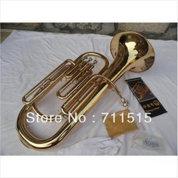 Wholesale French Horn Straight Key Bb Bass FRENCH HORN Brass Plated Music Instrument with Mouthpiece and Nylon Case
