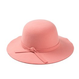 Wholesale-2015 New Arrival Fedoras hat Hats for women woolen hat British retro wide-brim wave bowler hats Free Shipping
