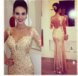 Shining Gold Fitted Sheer Long Sleeve Evening Gowns 2019 Appliques Open Back Sequin Prom Dresses