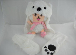 Wholesale Animal Hat with gloves leader animal glove and hat bear low price new