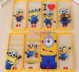 3D Cute Yellow Minion For iphone 5 6 6 Plus Despicable Me 3D Cute Yellow Minion Transparent TPU Hard Case Cover