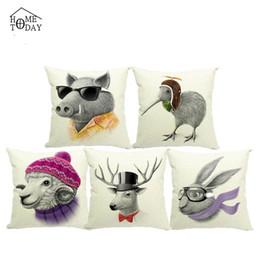 1 pc 45cm*45cm Chic Cute Pig Cartoon Anime Printed Pillows Cover Lumbar Chair Pillow Cases Colorful Pillowcase Free Shipping