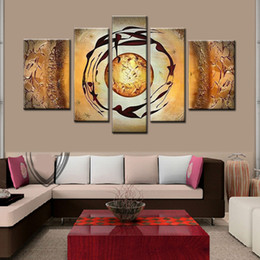 the abstract planet! 5 panels oil painting on canvas abstract decorative wall art yellow home decor unique gifts Directly From Artist