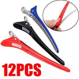 Pelo largo corte de pelo en Línea-12pcs Pro Salón de 11cm de largo Clips de peluquería Corte de pelo de plástico de aluminio Sección Pinzas Herramientas del pelo Accesorios Grip Clip Styling