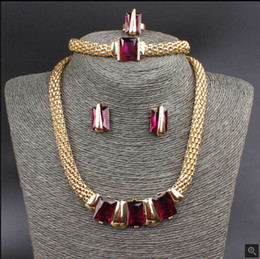 Hot Selling Rectangle Square Shape Austrian Crystal 18K Gold Plated Necklace Bracelet Ring Earrings Jewelry Set For Women