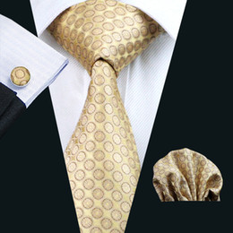 Wholesale Yellow Silk Tie Business Work Tie Dot Pattern Hankerchief Cufflinks Mens Set Jacquard Woven Classic cm Width N