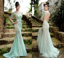 Rami Salamoun 2018 Slim Prom Dresses Custom Long Sleeves Backless Pageant Dress Crystal Beading Tulle See Through Belt Evening Gowns