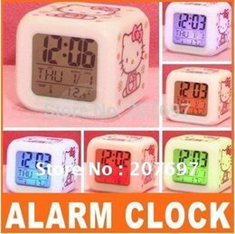 Wholesale 2014 New Best selling Hello Kitty Glowing LED Color Change Digital Alarm Mood Clock Multifunction music led Colourful clock