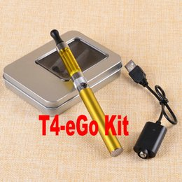 Wholesale Best e cigarette electronic cigarette vaporizer T4 Atomizer EGO T battery mAh Health smoking hookah pen Aluminum case kits