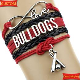 Wholesale Infinity Love BULLDOGS baseball Team Bracelet Red and black Customize Sports friendship Bracelets sports charms great quality