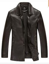 Fall-2016 New Warm Winter Sheepskin Men's Leather jacket Men Leisure Fur coat Brand luxury Real Leather coat