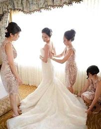 2016 Blingbling Rose Gold Sequins Bridesmaid Dresses Knee Length V Neck Maid of Honor Dresses Beach Formal Wedding Party Dresses
