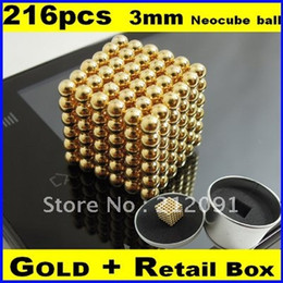 Wholesale-Free Shipping Wholesale Genuine Gold 3mm 216 Neocube Balls Magnetic,Neodymium Cube Magnet Balls, Magnetic Bukeyballs, Box #2