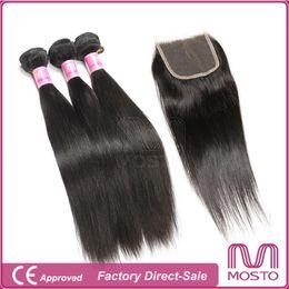 Part entière à vendre-Cheveux vierges brésiliens Straight Extension de cheveux Remy de Malaisie 3Bundles + 1 Fermeture de cheveux gratuite Partie médiane Pleine tête Extensions de cheveux humains