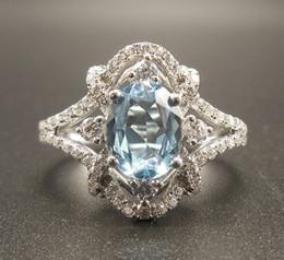 Bague en or aquamarine en Ligne-Anneau aquamarine - Anneau aigue-marine de 6x8MM avec diamants en or blanc 14 carats