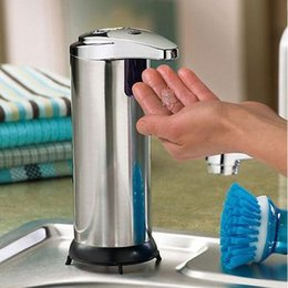 Wholesale Sensor soap dispenser Stainless Steel Automatic Hands Free Wash Machine Portable Automatic Liquid Soap Dispenser JJD2217