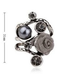 diamond pearl silk flower women's ring sz all (88) yuyu