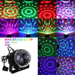 Wholesale Hot sale Mini RGB LED Crystal Magic Ball Stage Effect Lighting Lamp Bulb Party Disco Club DJ Light Show