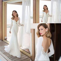 585131b8cd Bohemian Style Wedding Dress Mermaid Chiffon Long Sleeve Bridal Gown Lace  Sweetheart Low Cut vestido de