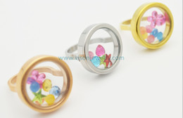 22mm 316L Stainless Steel Screw Style Glass Memory Locket Rings Available in Silver, Gold, Rose Gold Color