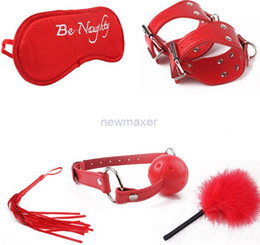 Fouets bouche gags à vendre-Sex Products 5 Pieces / Unit Flirt Toys Fetish Leather Whip Leather Bondage Cuffs, Erotic Toys, Mouth Gag