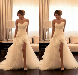 Stunning 2016 Wedding Dresses A Line Strapless Short Front Long Back Organza Beaded Bridal Gown Wedding Dresses