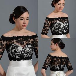 2015 New Design Off Shoulder Half Sleeve Lace Black Bolero Jacket Cheap Cap Wrap Shrug For Wedding Bridal Evening Party PJ014 Free Shipping