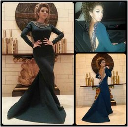 Myriam Fares Long Sleeve Prom Dresses Beaded Backless Bateau Neck Court Train Mermaid Cheap Prom Dresses Evening Online