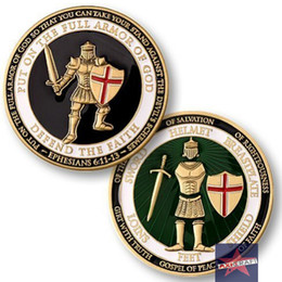 Wholesale Armor of God Challenge Coin American Army USA Army Navy coin Gold plated Souvenir Commemorative Coin OZ