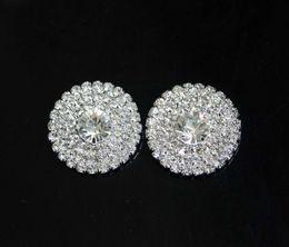 Stock!! 50pcs lot 28mm Silver Metal Rhinestone Button For Flower Cluster Hair Flower Wedding Embellishment DIY Accessories