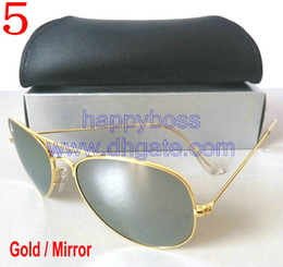 1pcs Men's Women's Designer Classic Pilot Sunglasses Gold Mirror 58mm Glass Lenses Outdoor Sports Eyewear Travel Sun Glasses Free shipping