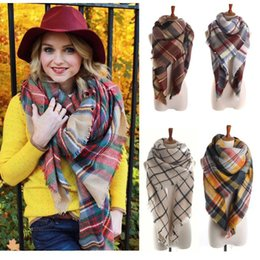 Wholesale Cheap Priced Blankets - Cheap Price Lady Blanket Oversized Tartan Scarf Wrap Shawl Plaid Cozy Checked Pashmina corlorful autumn winter scarves In Stock