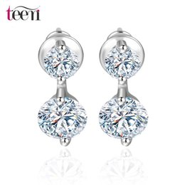 Wholesale Teemi Jewellery Stores Statement New Fashion Design Double Round Zircon Stone Stud Earrings Elegant White Gold Plated Crystal Christmas Gift