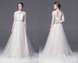 2015 Elegant A-Line Wedding Dresses V-Neck Long Sleeve Chiffon With Sashes Bridal Gowns Floor Length Wedding Gown