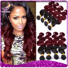 Wholesale Irina a Ombre Peruvian Body Wave Hair Extension Colored Two Tone Hair Weave b Burgundy Peruvian Ombre Hair weft inch Bundle Deals