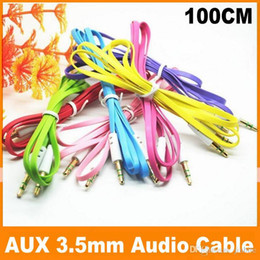 3.5mm cable de audio del conector en venta-Colorido de fideos plana de 3,5 mm de cable audio aux auxiliar Jack macho a macho cable de alambre del enchufe estéreo para el iPhone 5 5s 6 6s Mp3 Players Altavoces JF-6