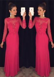 Latest Chiffon Long Sleeve Evening Dresses A-line Floor-length Elegant Appliques Beaded Chiffon Custom Made Long Party Prom Dresses