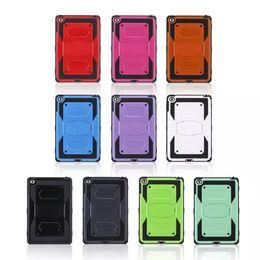 25PCS para el favorable caso resistente plástico híbrido a prueba de choques de la armadura del defensor del mini 4 mini4 X del estilo del iPad + cubierta del silicón con el soporte de Kickstand desde silicio w proveedores