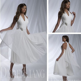 2015 Best selling White Tea-length A Line beach wedding dresses bridal gown chiffon beach wedding gowns 11137